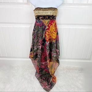 Via Monte Strapless Embellished Asymmetrical Dress